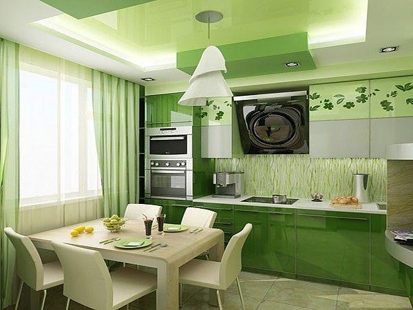Зеленый интерьер в кухне
