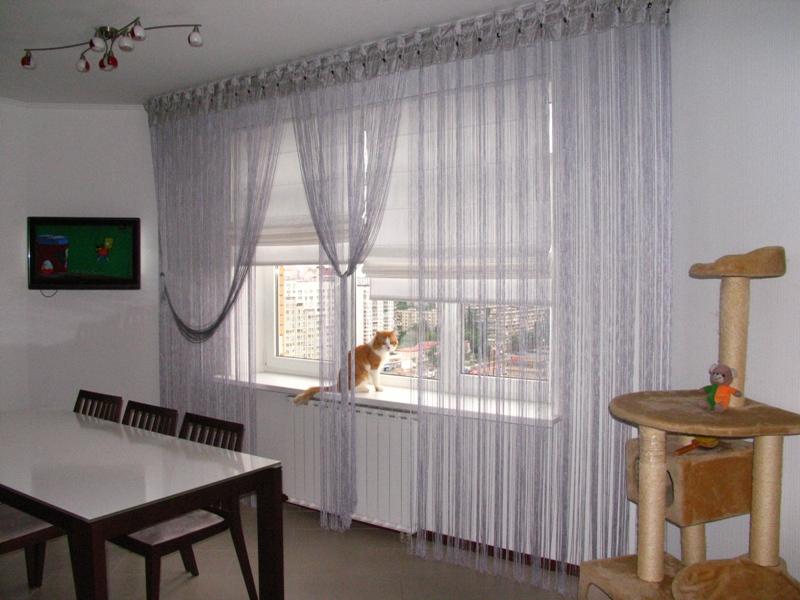 Нитяные шторы в интерьере для веселого настроения дом и в нЁ.